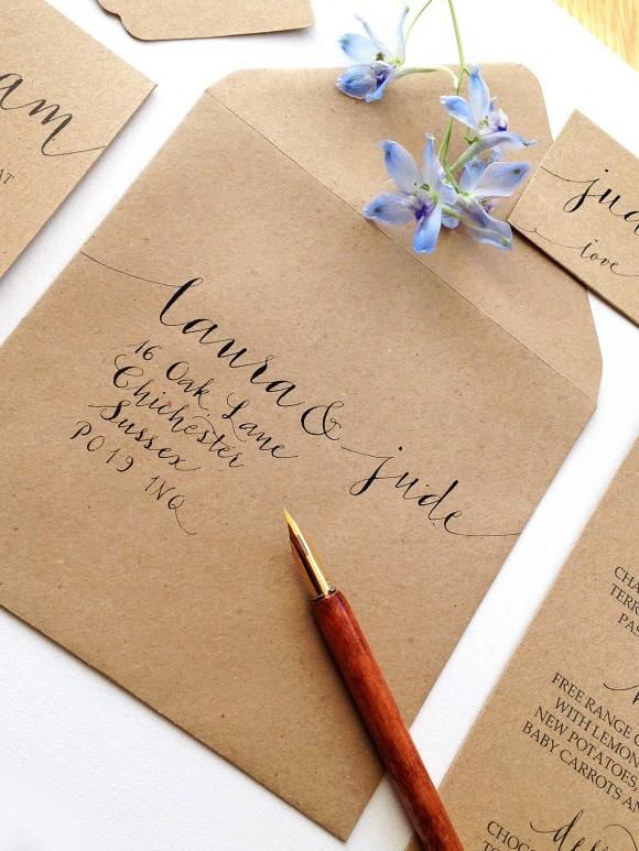 Calligraphy 2 modern kraft invites (5)