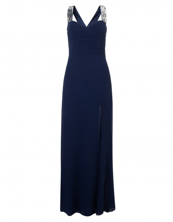 Royal blue floor-length gown with glitter detail