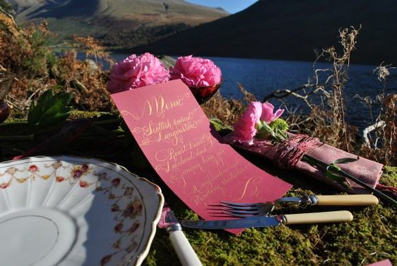 Calligraphy menu outdoor wedding