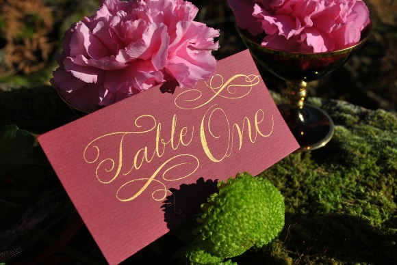 Calligraphy table number card