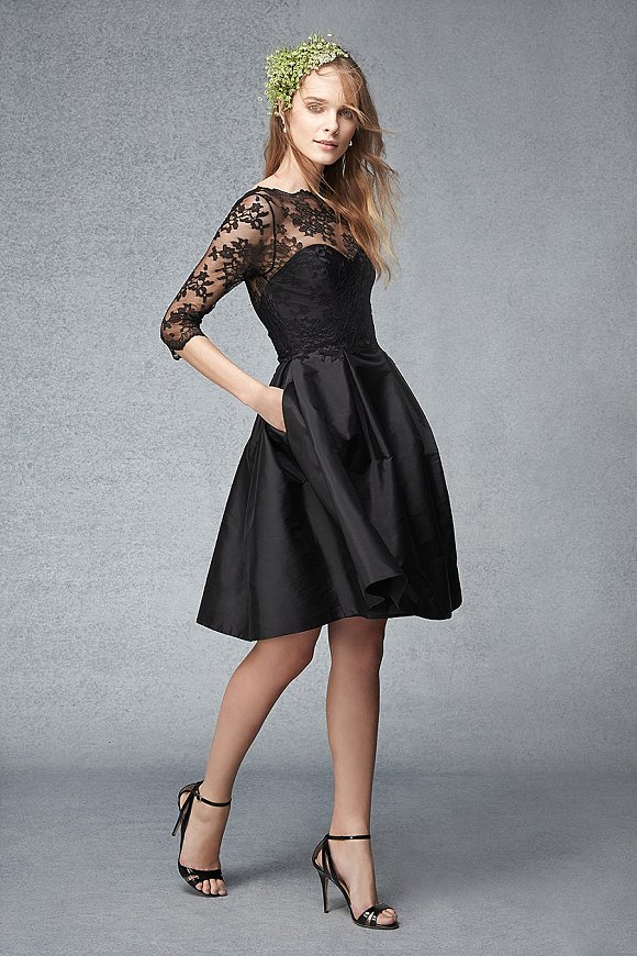 Black short taffeta dress with lace bodice - Monique Lhuillier