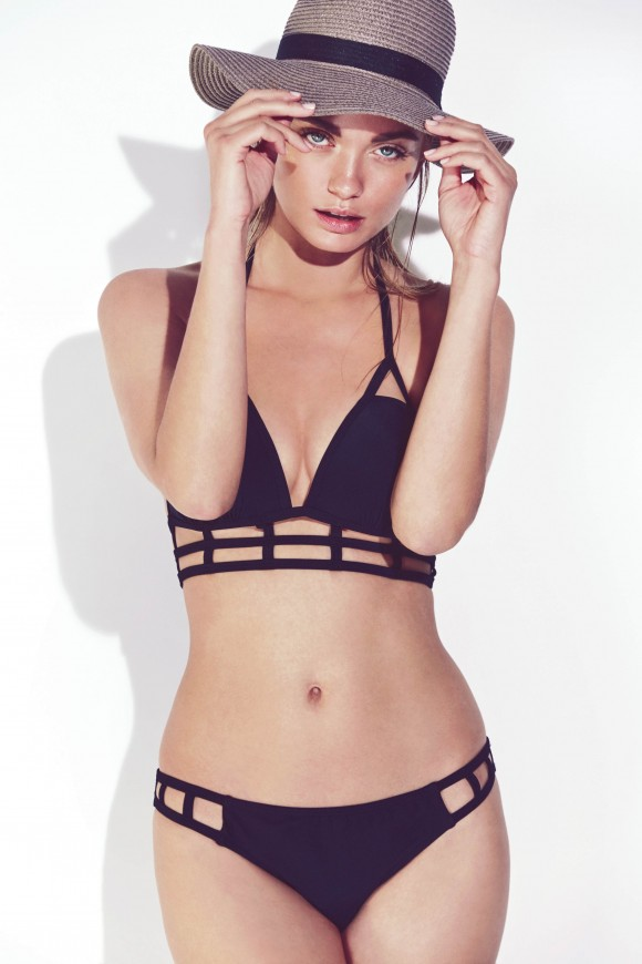 Black Caged Longline Bikini Top & Bottoms