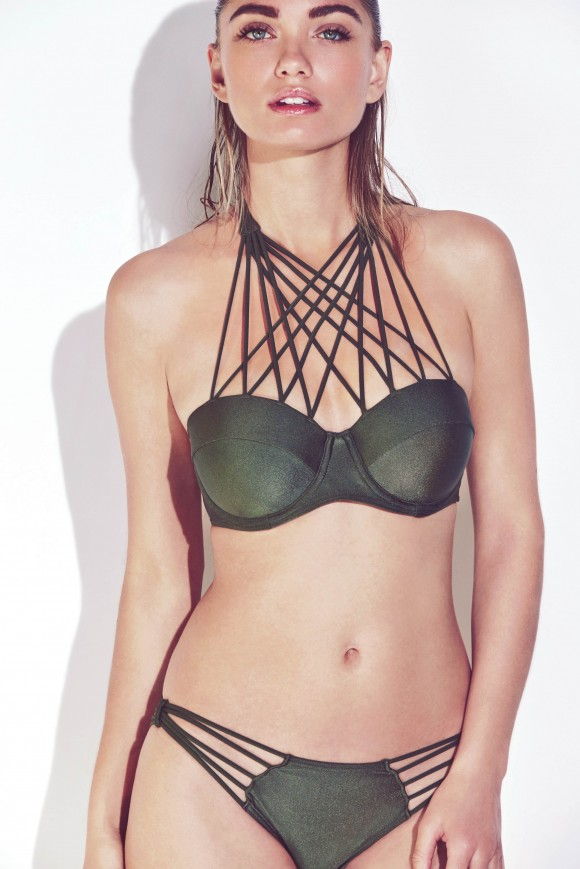 Khaki Lattice Bikini Top & Bottoms
