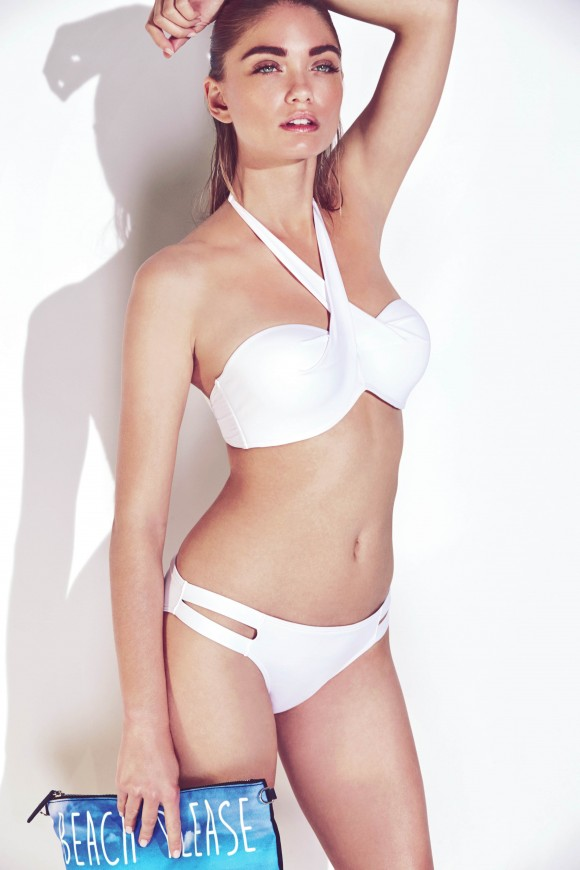 White Halter Neck Bikini Top & Bottoms