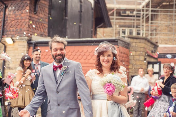 loved up cinema club. a bespoke vintage wedding dress for a cool and quirky Sheffield wedding – lydia & jamie
