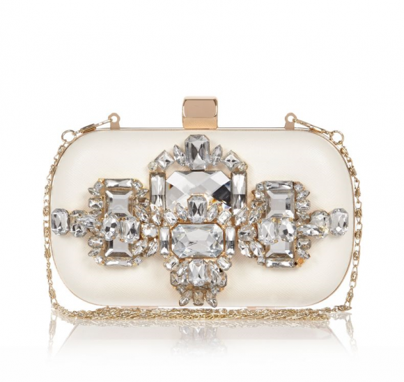 River Island White Embellished Box Clutch