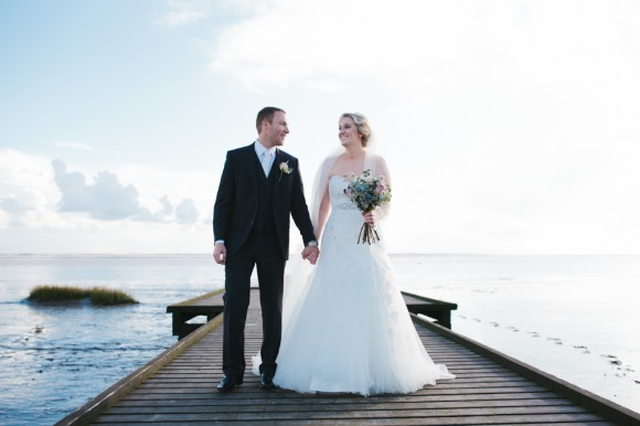 oh i do like to be beside the seaside. sophia tolli for a traditional wedding in the north west – kate & colin