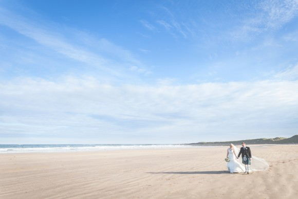 by the sea. sophia tolli for an autumnal wedding at newton hall – amanda & phil