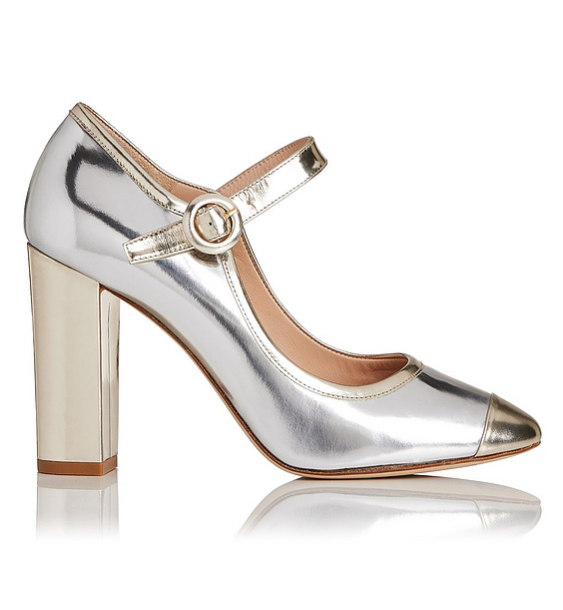 Marla Metallic Mary Jane Block Heels