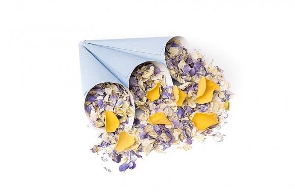 ShropshirePetals.com Blue confetti cones with Summer Sky and Golden Slumber £13.95 per litre
