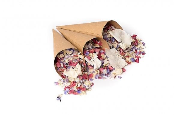 ShropshirePetals.com Brown Craft confetti cones with Kaleidoscope and Daisy Daisy £13.95 per litre