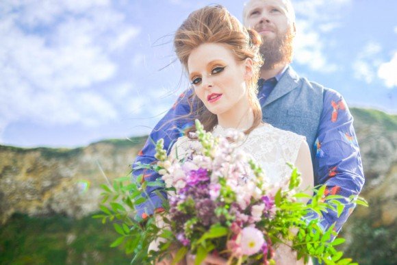 coastline colour: a styled bridal shoot at marsden rock