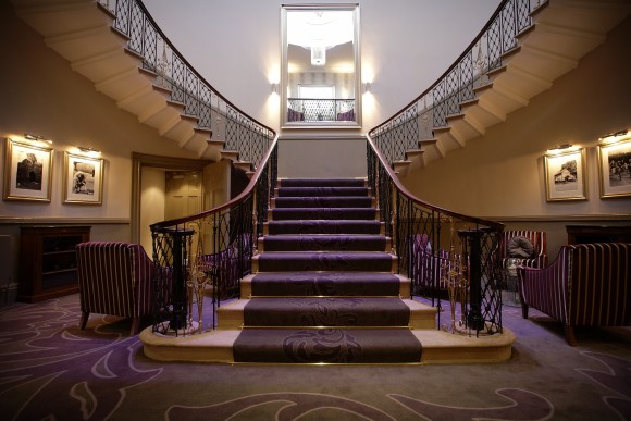 The grand staircase of The Mansion, Roundhay Park is a perfect setting for a contemporary spring theme