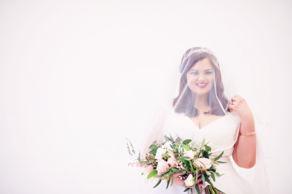 love, lights, action. a rose gold plus size bridal styled shoot in the north west