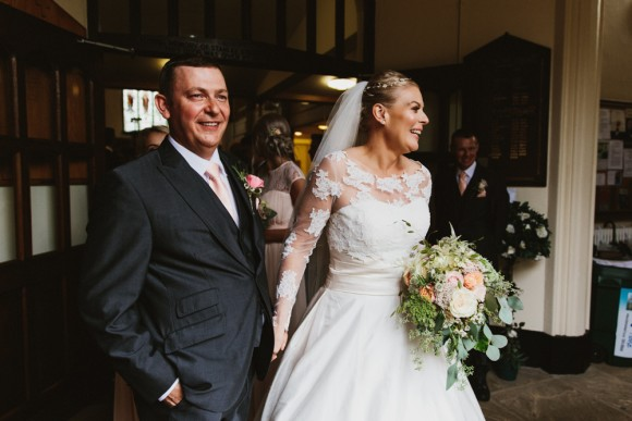 peachy keen. ivory & co for a rustic wedding at rivington hall barn – gill & chris