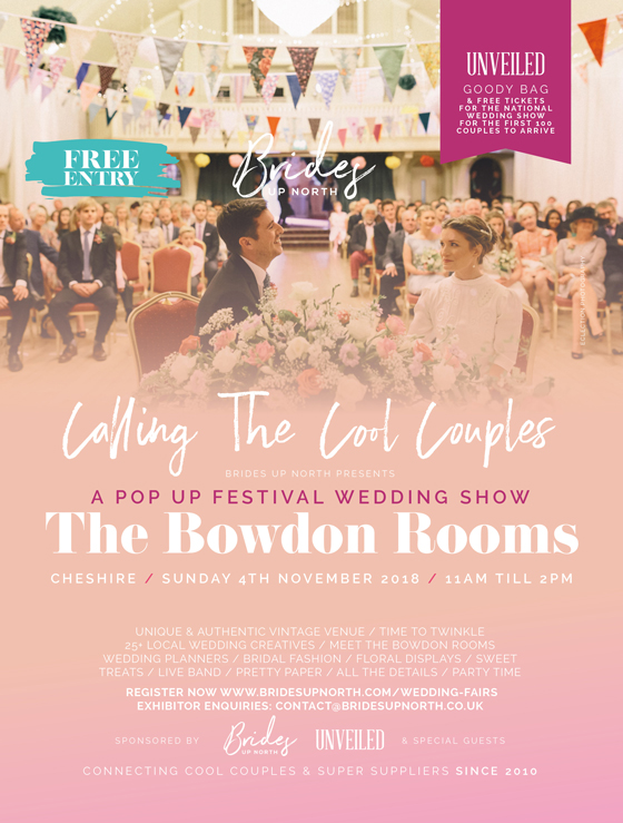 it's a pop-up festival wedding show at the bowdon rooms!