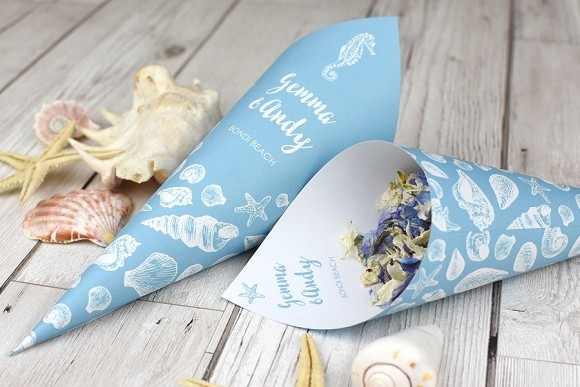ShropshirePetals.com Personalised Cones - Coastal theme with Summer Sky Confetti from £13 (2)