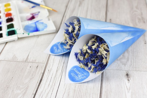 5 - ShropshirePetals.com Personalised Cones - Watercolour theme with Something Blue Confetti from £13 (3)