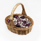 ShropshirePetals.com Flower Girl Basket with Icing Sugar, Lady Grey, Burgundy Berry and Aubergine £18