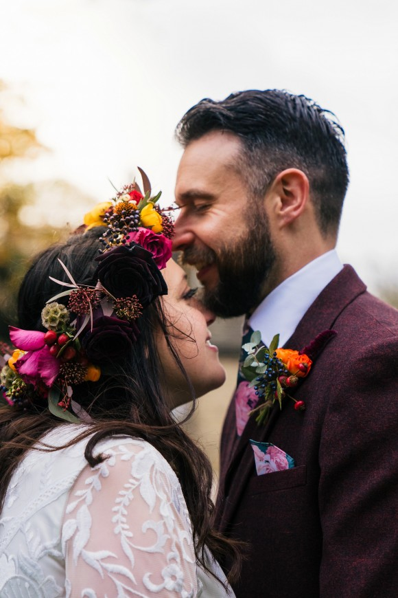 roses & berries for a colourful autumn wedding at northorpe hall & barn – jen & craig