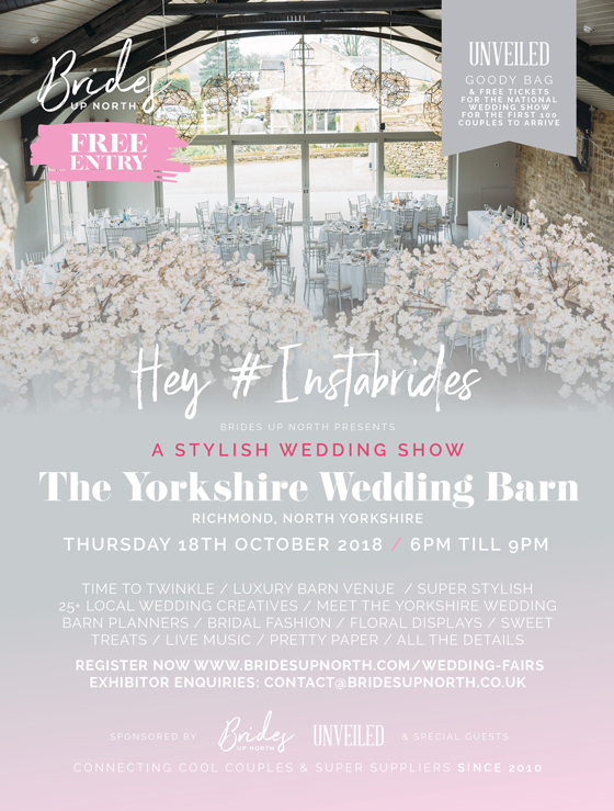 hey #instabrides – you're invited to a stylish wedding show at yorkshire wedding barn