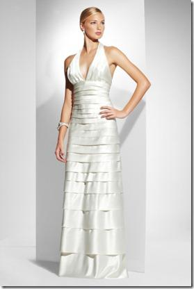 BCGB Halter Gown With Layered Panel Detail
