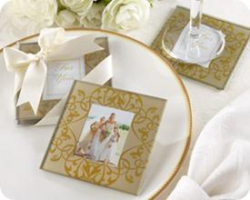 Kate Aspen Golden Brocade Photo Coasters