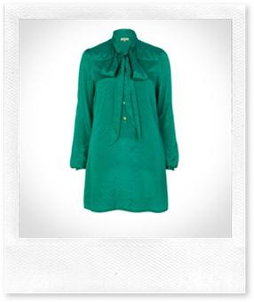 River Island Green Pussy Bow Shirt Dress