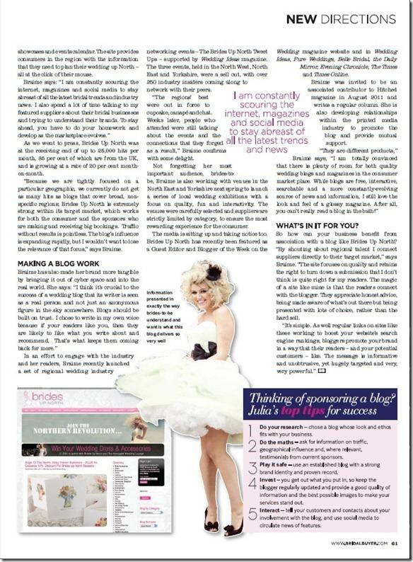 Brides Up North UK Wedding Blog - Bridal Buyer Nov/Dec 2011