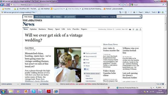 Brides Up North Wedding Blog: The Times - Will We Ever Get Sick Of A Vintage Wedding?